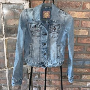 Abercrombie and Fitch distressed jean jacket med.